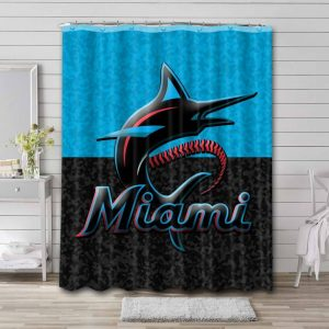 Miami Marlins Logo Shower Curtain Waterproof Polyester