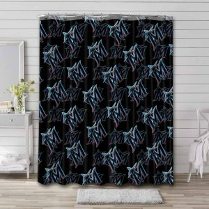 Miami Marlins Patterns Shower Curtain Waterproof Polyester