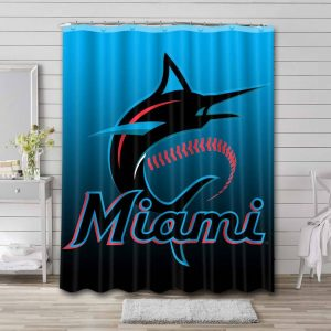 Miami Marlins MLB Shower Curtain Waterproof Polyester