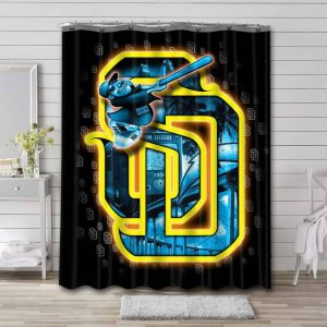 San Diego Padres MLB Shower Curtain Waterproof Polyester