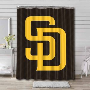 San Diego Padres Logo Shower Curtain Waterproof Polyester