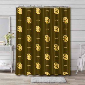 San Diego Padres Pattern Shower Curtain Waterproof Polyester