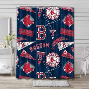 Boston Red Sox Pattern Shower Curtain Waterproof Polyester