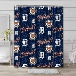 Detroit Tigers MLB Pattern Shower Curtain Waterproof Polyester