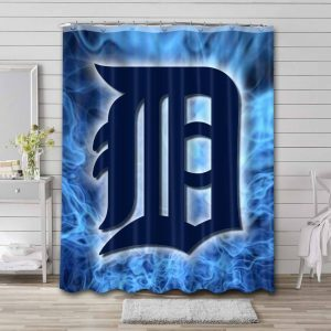 Detroit Tigers Shower Curtain Bathroom Decoration Waterproof Polyester Fabric.
