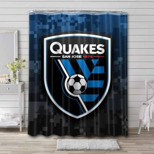 San Jose Earthquakes Soccer Shower Curtain Waterproof Polyester