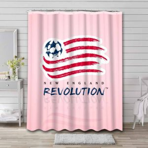 New England Revolution Soccer Shower Curtain Waterproof Polyester