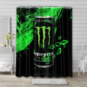 Monster Energy Drink Can Shower Curtain Bathroom Decoration