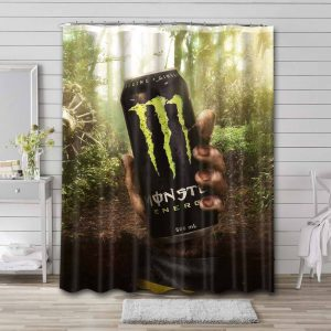 Monster Energy Drink Can Shower Curtain Waterproof Polyester