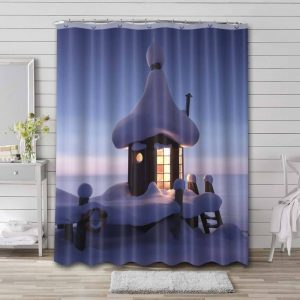 Moominvalley Shower Curtain Bathroom Decoration Waterproof Polyester Fabric.