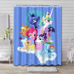 My Little Pony All Characters Shower Curtain Bathroom Waterproof