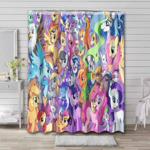 My Little Pony All Characters Shower Curtain Bathroom Decoration
