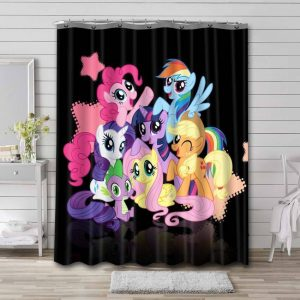 My Little Pony All Characters Shower Curtain Waterproof Polyester