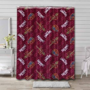 Cleveland Cavaliers Pattern Shower Curtain Waterproof Polyester