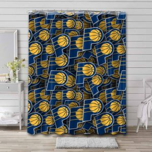 Indiana Pacers Pattern Shower Curtain Bathroom Decoration