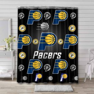 Indiana Pacers Pattern Shower Curtain Waterproof Polyester