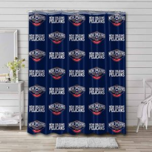 New Orleans Pelicans Pattern Shower Curtain Waterproof Polyester