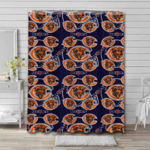 Chicago Bears Pattern Shower Curtain Waterproof Polyester