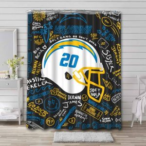 Los Angeles Chargers Shower Curtain Waterproof Polyester