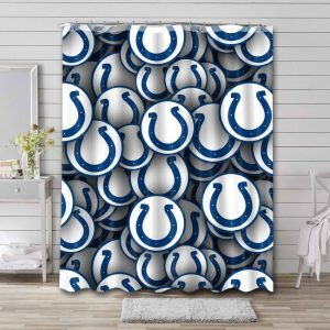 Indianapolis Colts Pattern Bathroom Curtain Shower Waterproof