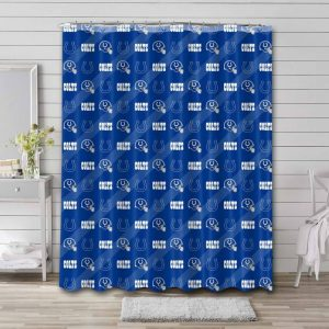 Indianapolis Colts Pattern Waterproof Curtain Bathroom Shower