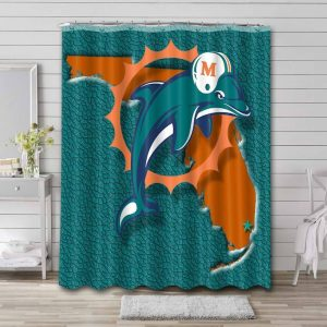 Miami Dolphins Football Shower Curtain Waterproof Polyester