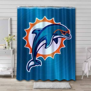 Miami Dolphins Logo Shower Curtain Waterproof Polyester