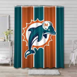 Miami Dolphins Shower Curtain Bathroom Decoration Waterproof Polyester Fabric.