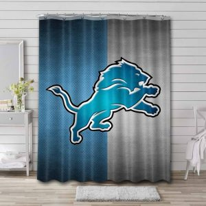 Detroit Lions Shower Curtain Bathroom Decoration Waterproof Polyester Fabric.