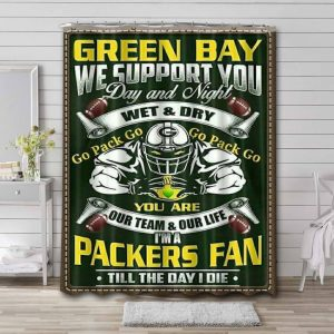Green Bay Packers NFL Shower Curtain Bathroom Decoration