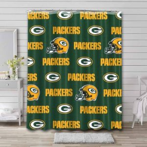 Green Bay Packers Pattern Shower Curtain Waterproof Polyester