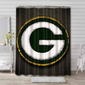 Green Bay Packers Shower Curtain Bathroom Decoration Waterproof Polyester Fabric.
