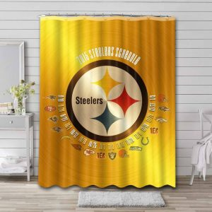 Pittsburgh Steelers Shower Curtain Bathroom Decoration Waterproof Polyester Fabric.