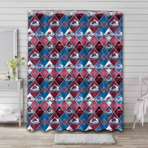 Colorado Avalanche Pattern Shower Curtain Waterproof Polyester