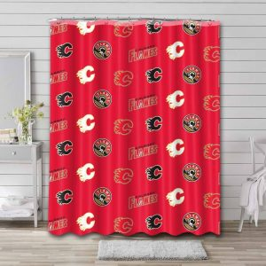 Calgary Flames Pattern Shower Curtain Waterproof Polyester