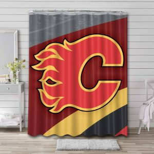 Calgary Flames Shower Curtain Waterproof Polyester