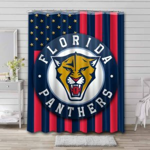 Florida Panthers Shower Curtain Bathroom Decoration Waterproof Polyester Fabric.