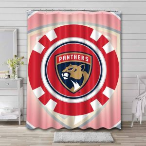 Florida Panthers Hockey Shower Curtain Waterproof Polyester