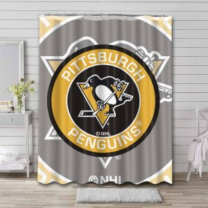 Pittsburgh Penguins NHL Shower Curtain Waterproof Polyester