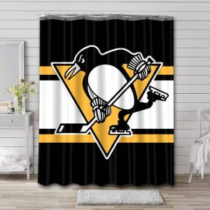 Pittsburgh Penguins Shower Curtain Waterproof Polyester