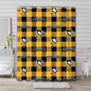 Pittsburgh Penguins Pattern Shower Curtain Waterproof Polyester