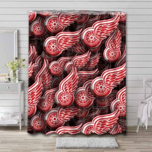 Detroit Red Wings Pattern Shower Curtain Bathroom Decoration