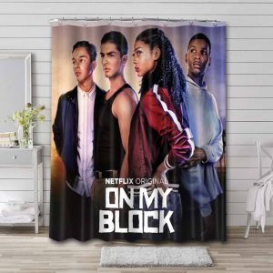On My Block Shower Curtain Waterproof Polyester Fabric