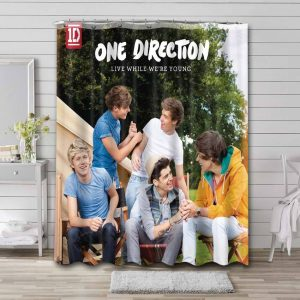 One Direction While We're Young Waterproof Curtain Bathroom Shower