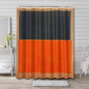 Mark Rothko Green and Tangerine on Red Shower Curtain Waterproof Polyester