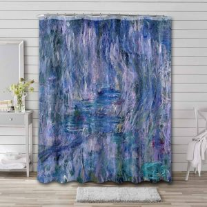 Claude Monet Waterlilies and Reflections of a Willow Tree Shower Curtain Waterproof Polyester