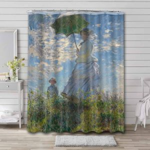 Claude Monet Woman with a Parasol Madame Monet and Her Son Bathroom Curtain Shower Waterproof