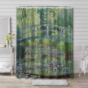 Claude Monet The Waterlily Pond: Green Harmony Shower Curtain Bathroom Decoration