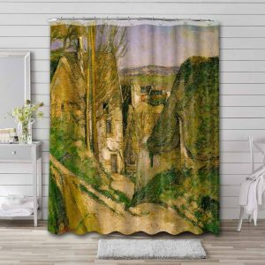 Paul Cezanne The Hanged Man's House in Auvers Shower Curtain Bathroom Decoration