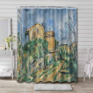 Paul Cezanne Maison Maria with a View of Chateau-Noir Shower Curtain Waterproof Polyester
